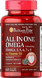 Puritan's Pride All In One Omega 3, 5, 6, 7 & 9 with Vit. D3 60 softgels